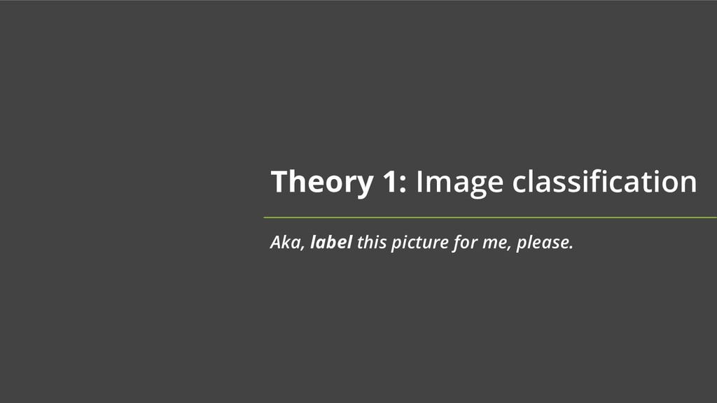 Theory 1: Image classification Aka, label this ...