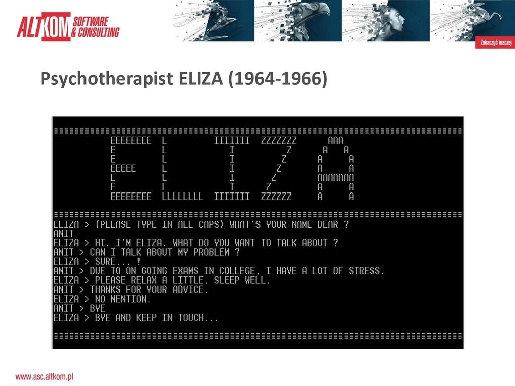 Psychotherapist ELIZA (1964-1966)