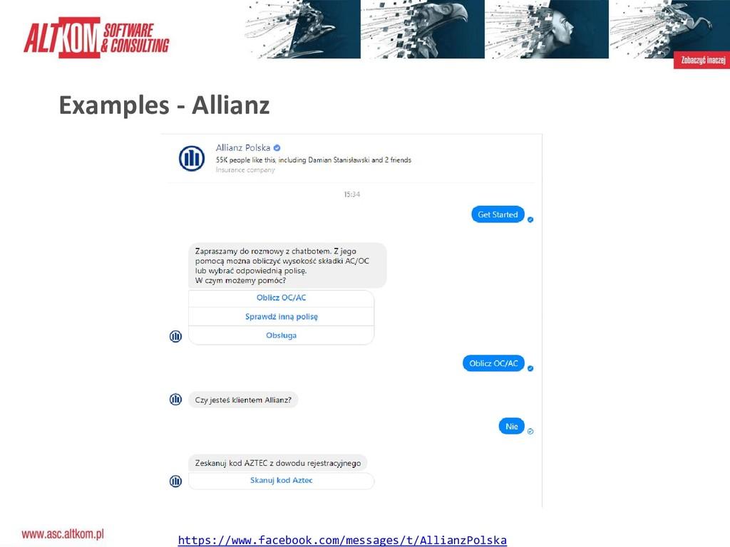 Examples - Allianz https://www.facebook.com/mes...