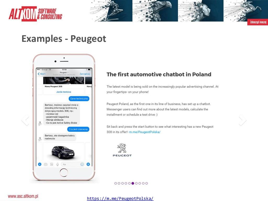 Examples - Peugeot https://m.me/PeugeotPolska/