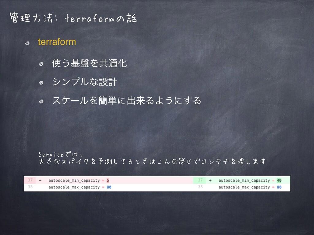 管理方法: terraformの話 terraform ͏ج൫Λڞ௨Խ γϯϓϧͳઃܭ ε...
