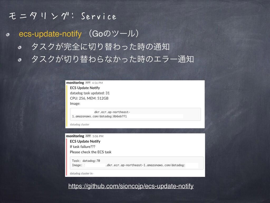 モニタリング: Service ecs-update-notify ʢGoͷπʔϧʣ λεΫ͕...