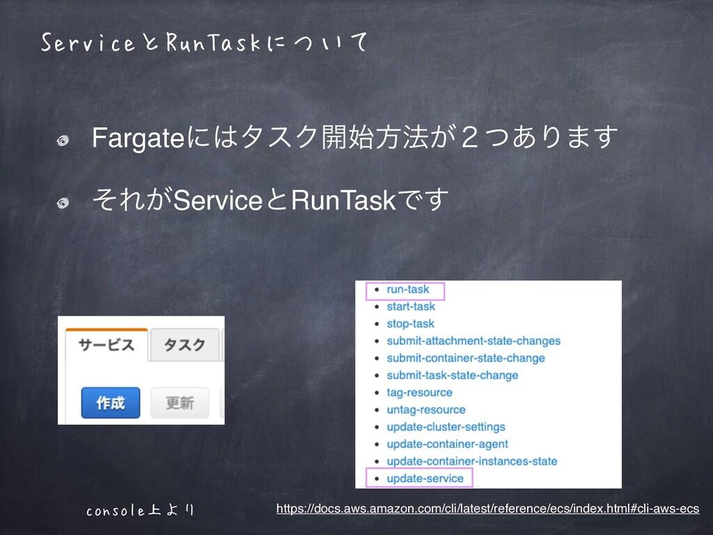 ServiceとRunTaskについて FargateʹλεΫ։ํ๏͕̎ͭ͋Γ·͢ ͦΕ͕...