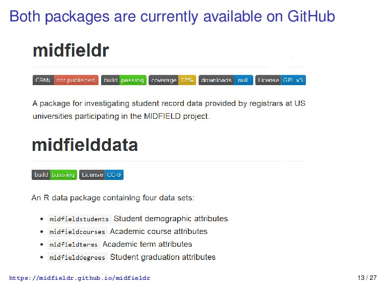 Both packages are currently available on GitHub...