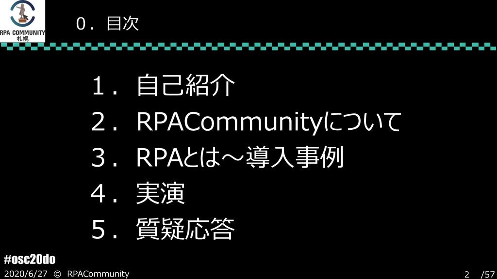/57 #osc20do 2020/6/27 © RPACommunity 2 0.目次 1....