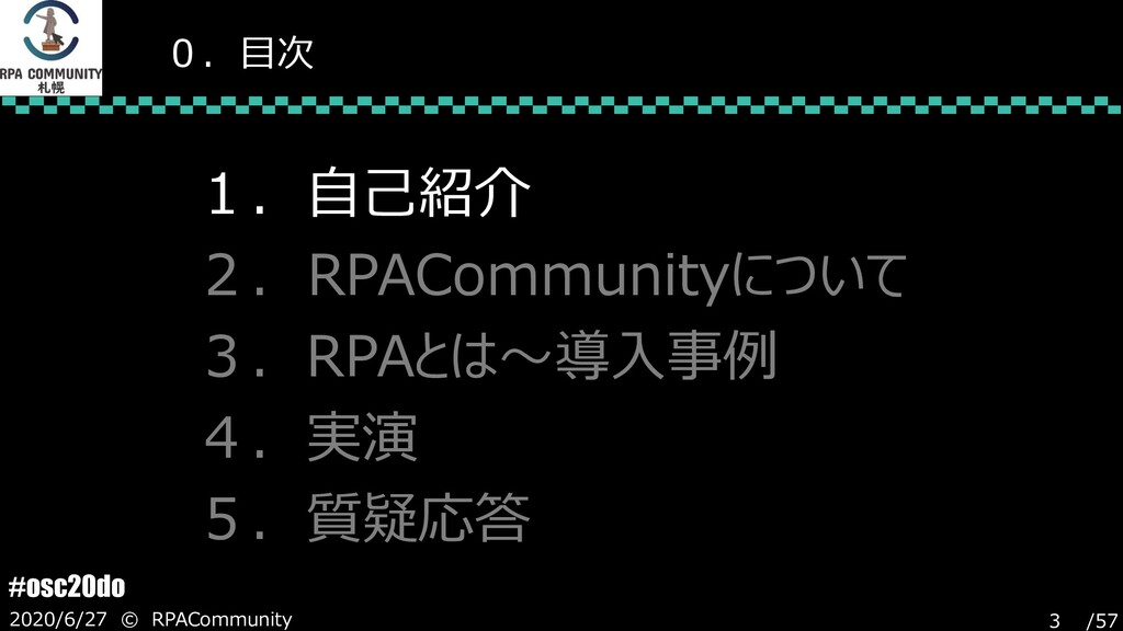 /57 #osc20do 2020/6/27 © RPACommunity 3 0.目次 1....