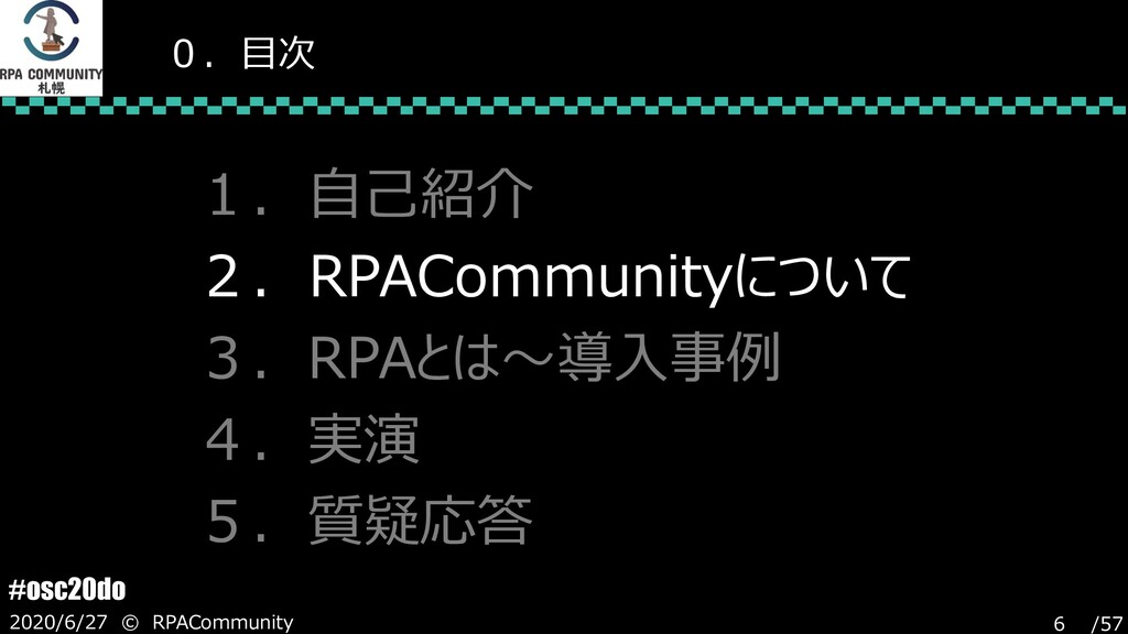 /57 #osc20do 2020/6/27 © RPACommunity 6 0.目次 1....