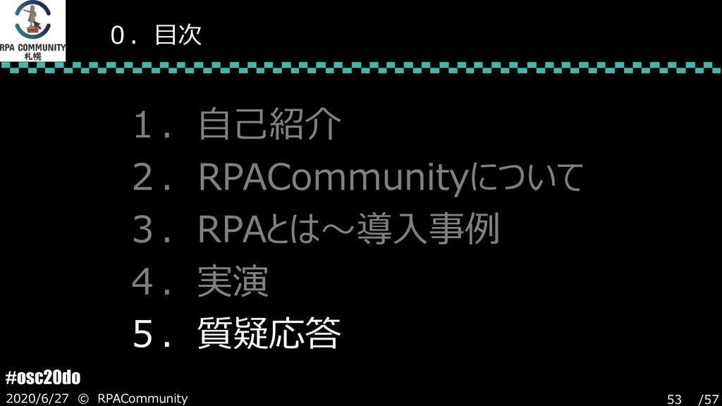 /57 #osc20do 2020/6/27 © RPACommunity 53 0.目次 1...
