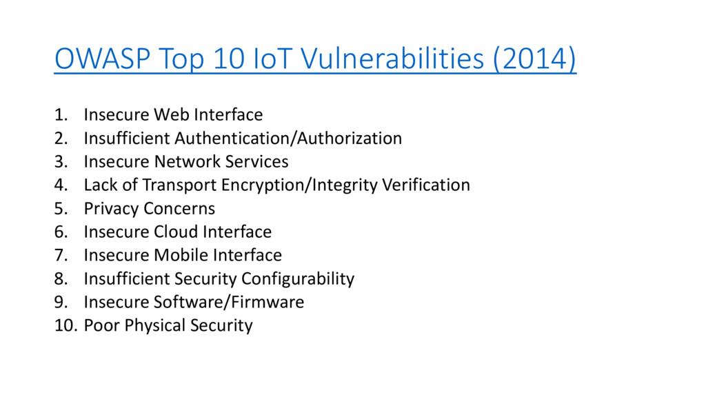 OWASP Top 10 IoT Vulnerabilities (2014) 1. Inse...