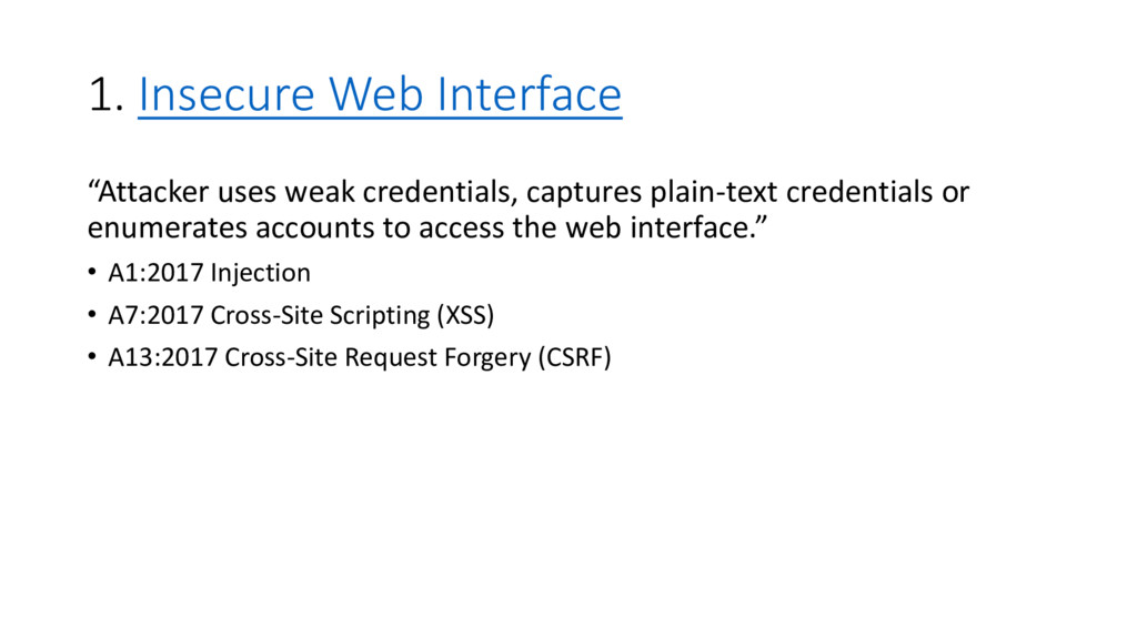 """1. Insecure Web Interface """"Attacker uses weak c..."""
