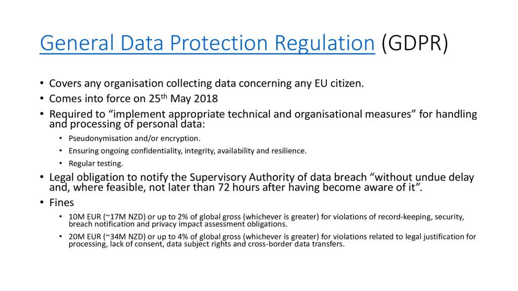General Data Protection Regulation (GDPR) • Cov...