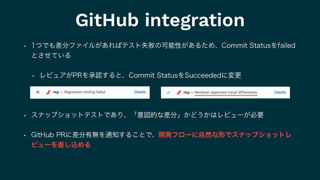 GitHub integration w ͭͰࠩϑΝΠϧ͕͋ΕςετࣦഊͷՄੑ͕͋Δ...
