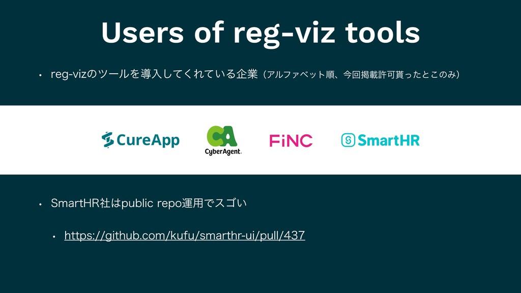 Users of reg-viz tools w SFHWJ[ͷπʔϧΛಋೖͯ͘͠Ε͍ͯΔا...