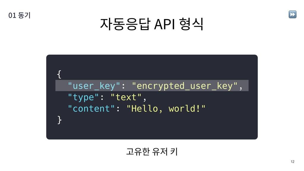 자동응답 API 형식 !12 01 동기 고유한 유저 키 ⏩