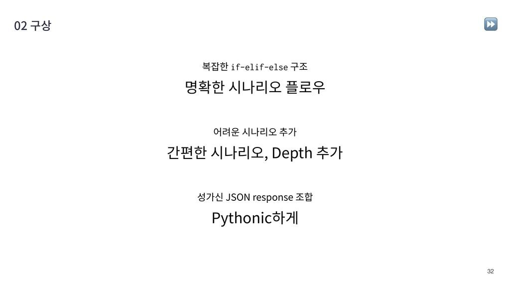 !32 02 구상 Pythonic하게 명확한 시나리오 플로우 간편한 시나리오, Dep...