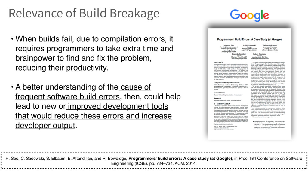 • When builds fail, due to compilation errors, ...