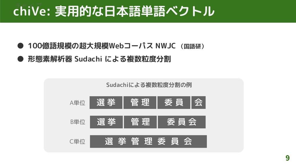 chiVe: 実用的な日本語単語ベクトル ● 100億語規模の超大規模Webコーパス NWJC...