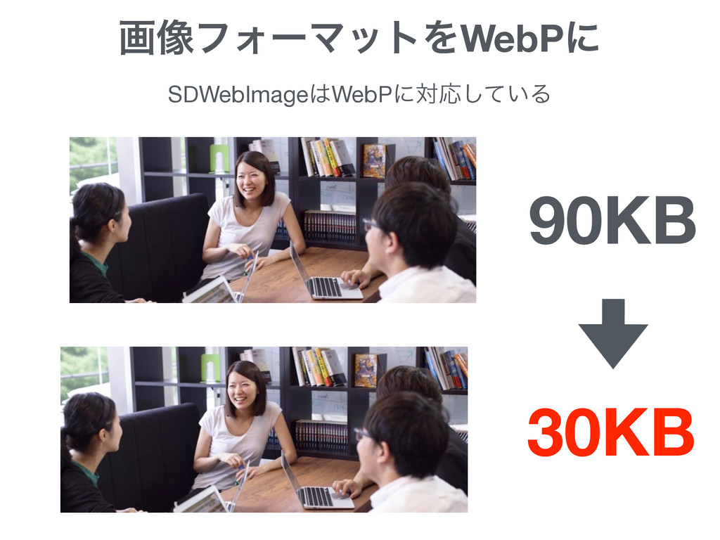 ը૾ϑΥʔϚοτΛWebPʹ 90KB 30KB SDWebImageWebPʹରԠ͍ͯ͠Δ