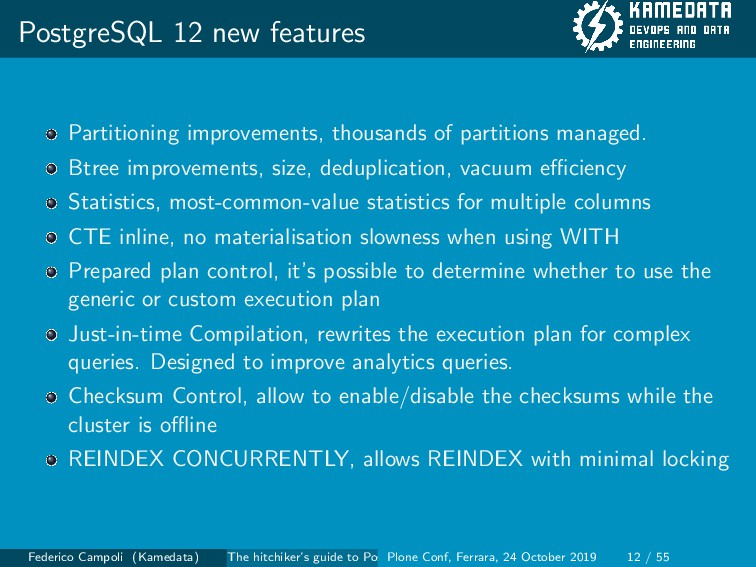 PostgreSQL 12 new features Partitioning improve...