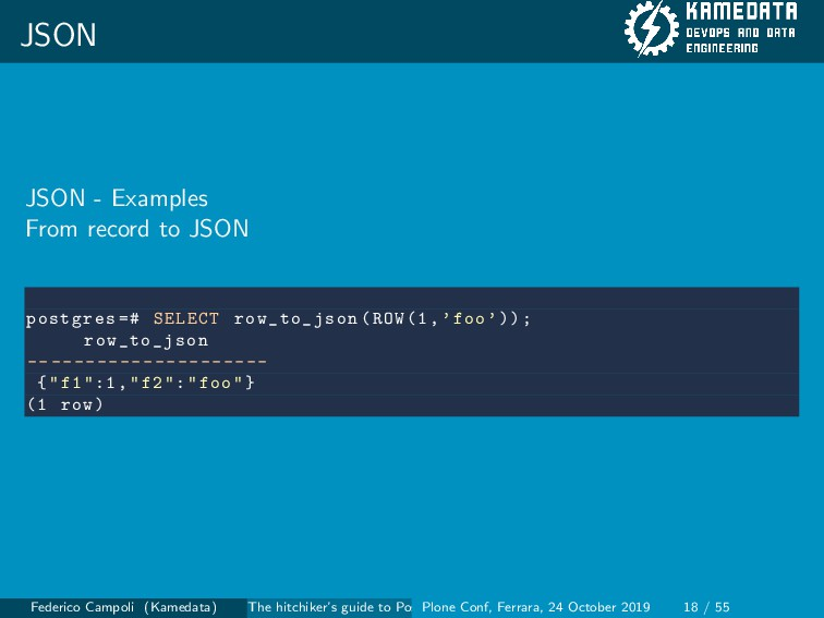 JSON JSON - Examples From record to JSON postgr...