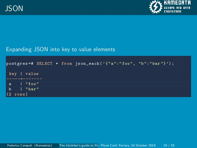JSON Expanding JSON into key to value elements ...