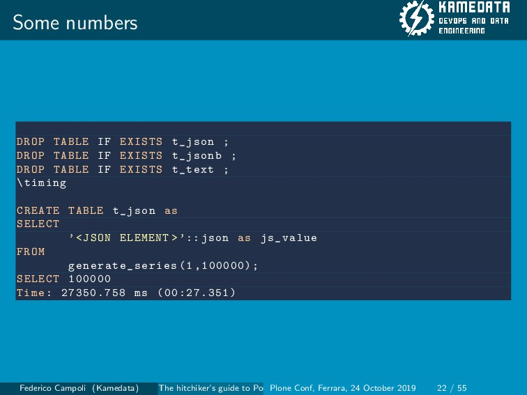 Some numbers DROP TABLE IF EXISTS t_json ; DROP...