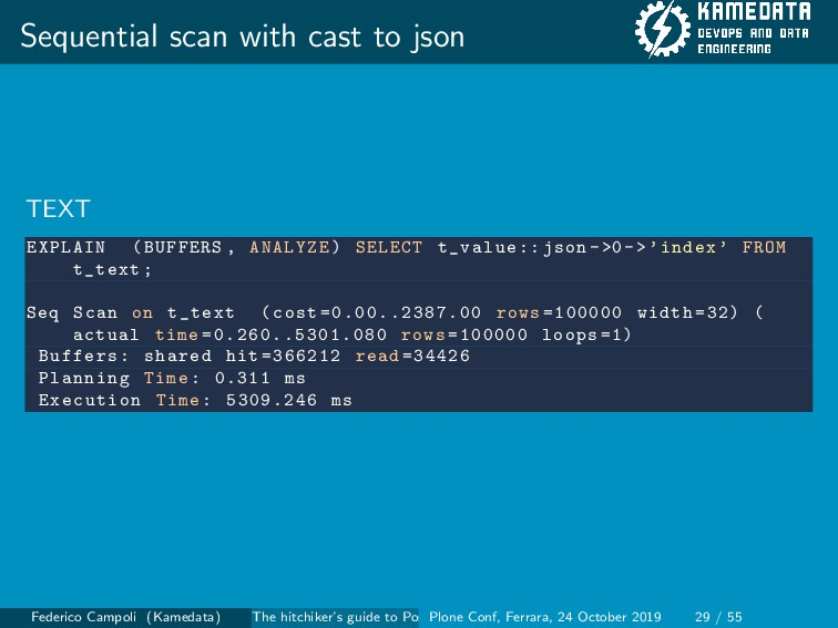 Sequential scan with cast to json TEXT EXPLAIN ...