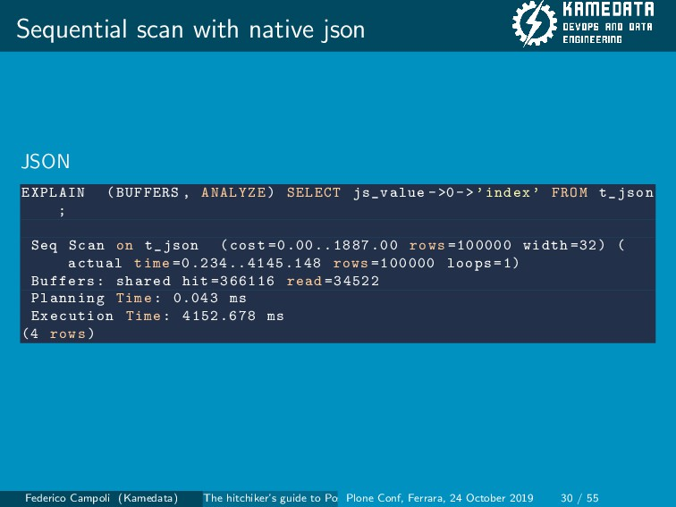 Sequential scan with native json JSON EXPLAIN (...