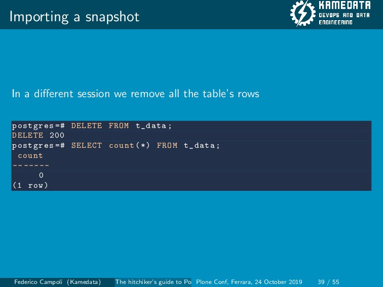 Importing a snapshot In a different session we r...