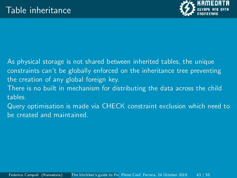 Table inheritance As physical storage is not sh...