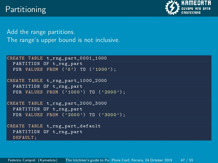 Partitioning Add the range partitions. The rang...