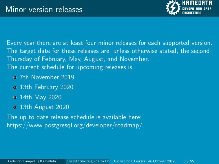 Minor version releases Every year there are at ...