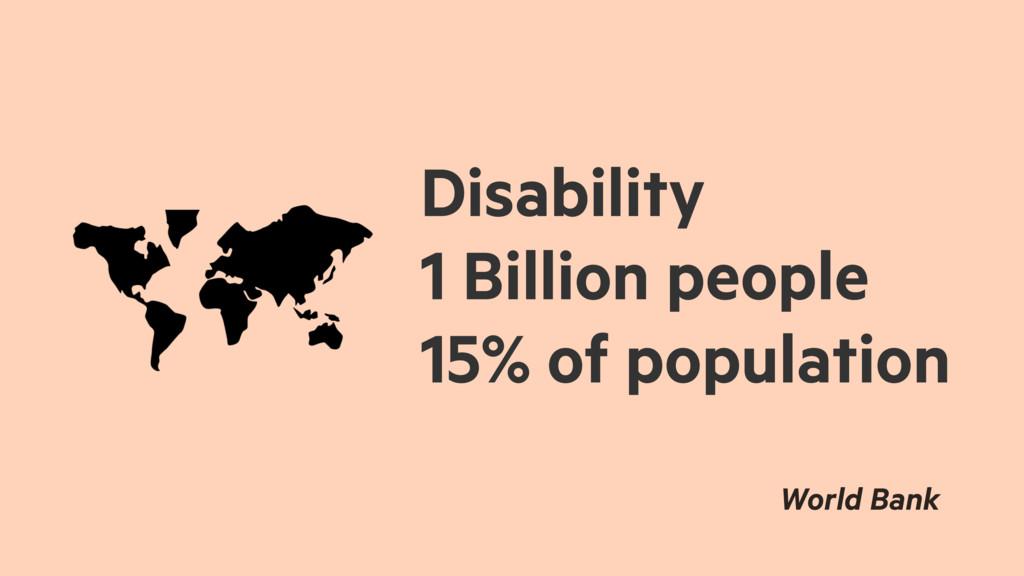 Disability 1 Billion people 15% of population W...