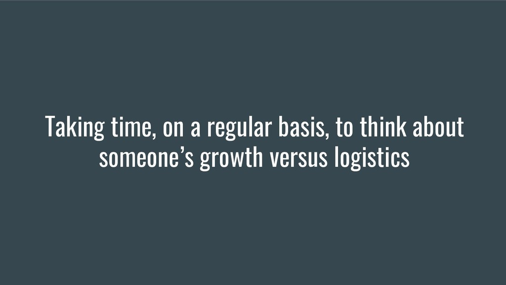 Taking time, on a regular basis, to think about...