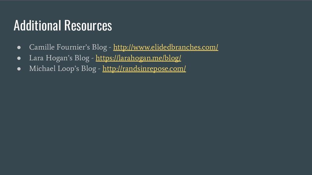 Additional Resources ● Camille Fournier's Blog ...