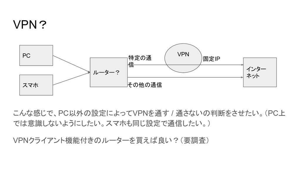 VPN? PC ルーター? インター ネット 固定IP 特定の通 信 その他の通信 こんな感じ...