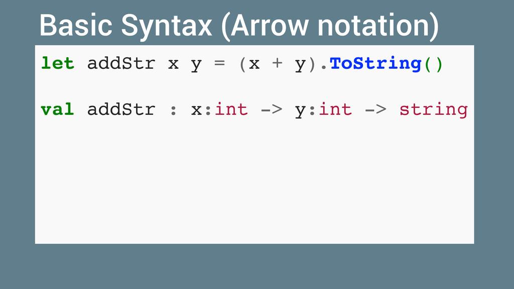 let addStr x y = (x + y).ToString() val addStr ...