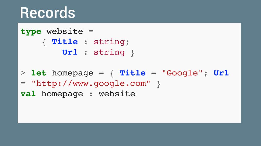 type website = { Title : string; Url : string }...