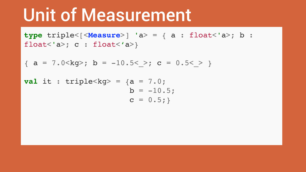 Unit of Measurement type triple<[<Measure>] 'a>...