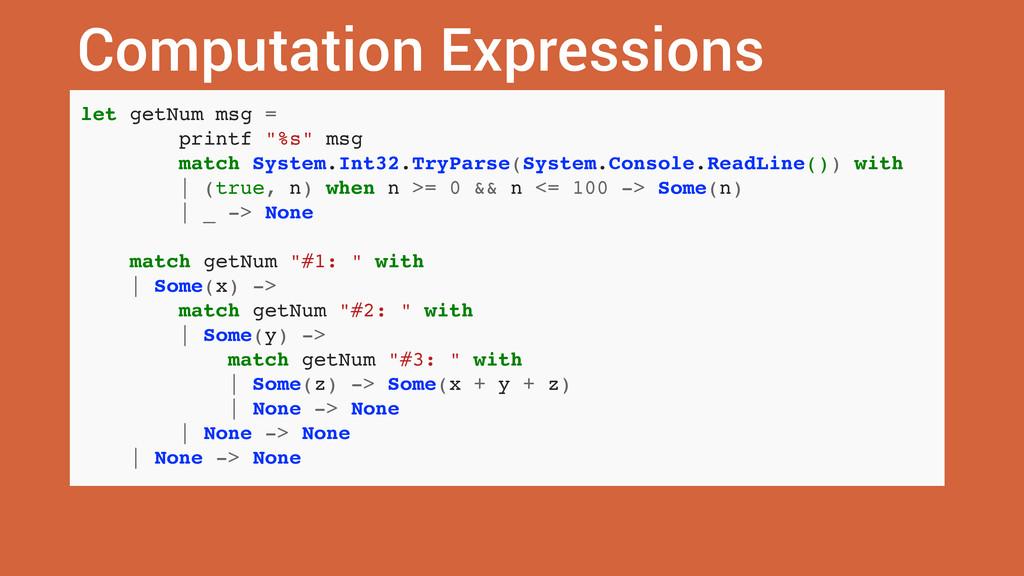 Computation Expressions let getNum msg = printf...