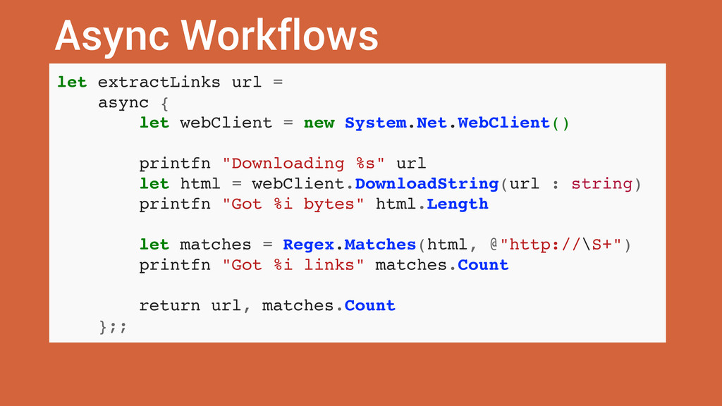 Async Workflows let extractLinks url = async { ...
