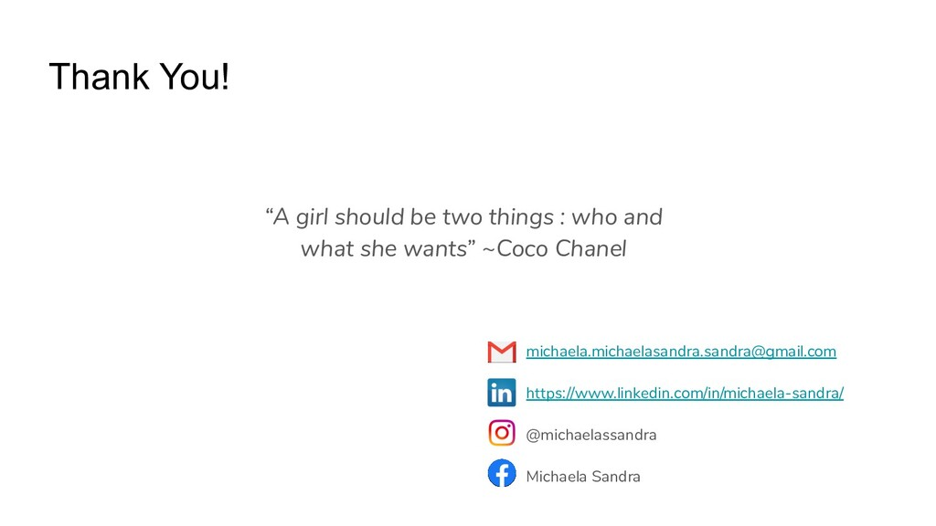 """Thank You! """"A girl should be two things : who a..."""