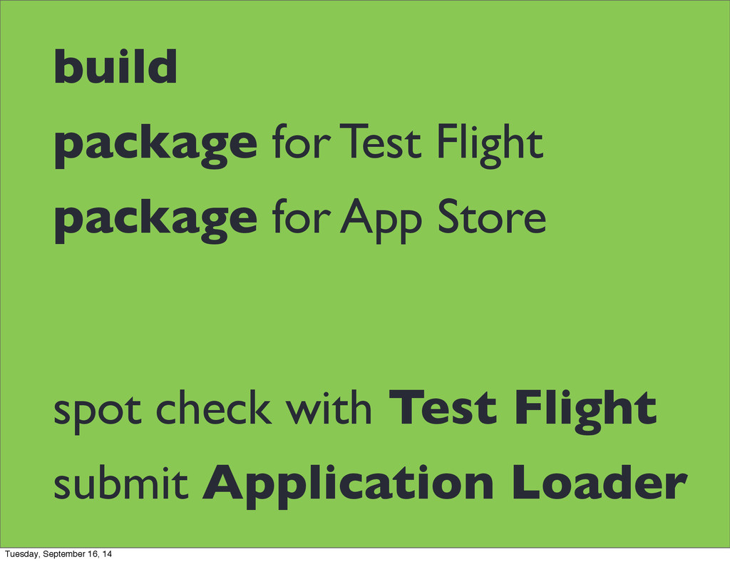 build package for Test Flight package for App S...