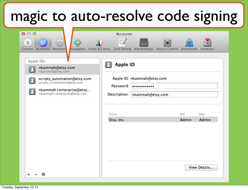 magic to auto-resolve code signing Tuesday, Sep...