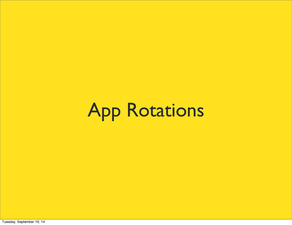 App Rotations Tuesday, September 16, 14