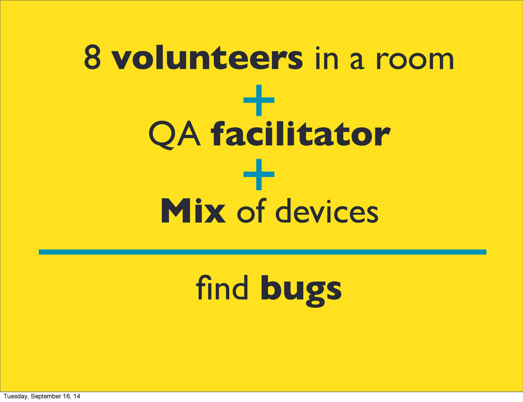 8 volunteers in a room QA facilitator Mix of de...