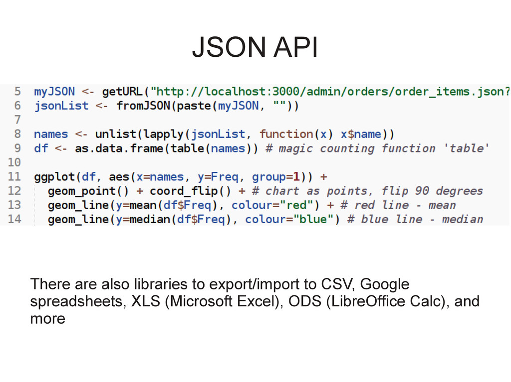 JSON API There are also libraries to export/imp...