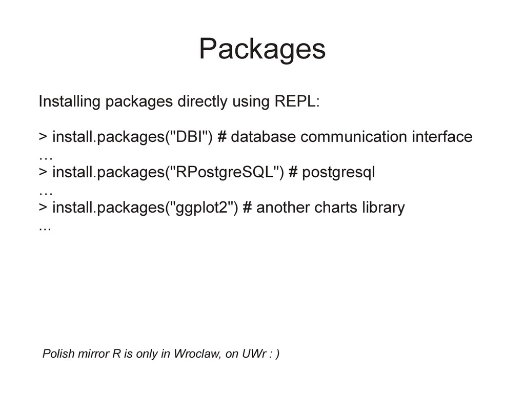 Packages Installing packages directly using REP...