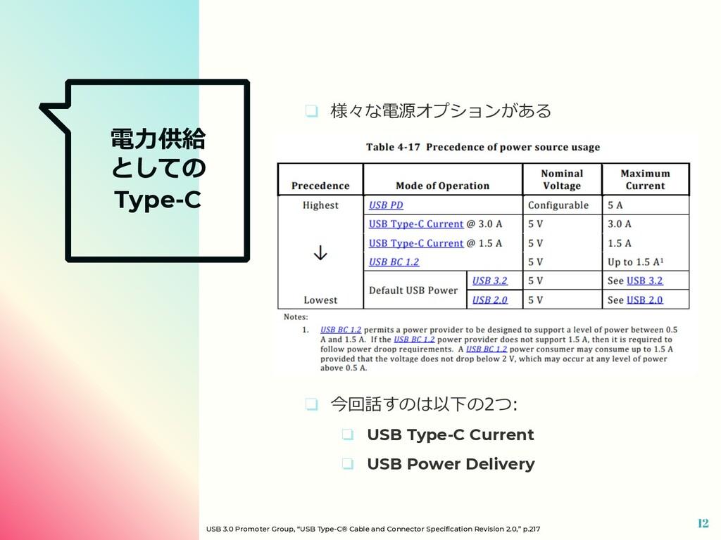 電⼒供給 としての Type-C ❏ 様々な電源オプションがある ❏ 今回話すのは以下の2つ:...