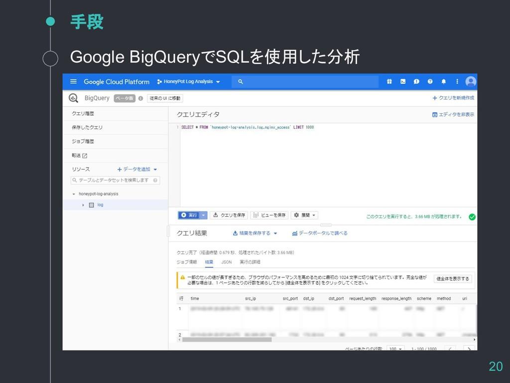 手段 20 Google BigQueryでSQLを使用した分析